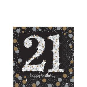 21st Birthday Beverage Napkins 16ct - Sparkling Celebration