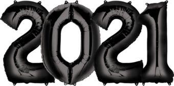 Giant Black 2021 Number Balloon Kit