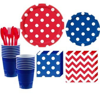 Royal Blue and Red Polka Dot & Chevron Paper Tableware Kit for 16 Guests