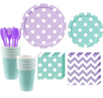 Robin's Egg Blue and Lavender Polka Dot & Chevron Paper Tableware Kit for 16 Guests
