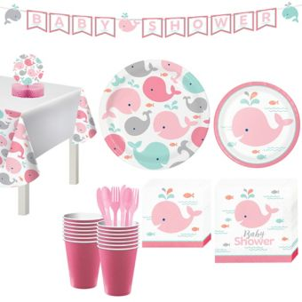 Pink Baby Whale Shower Kit 16 Guests