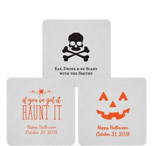 Personalized Halloween 80pt Square Coasters
