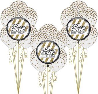 White & Gold Happy Birthday Balloon Kit