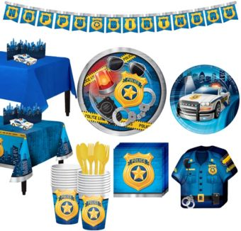 Police Tableware Party Kit for 16 Guests