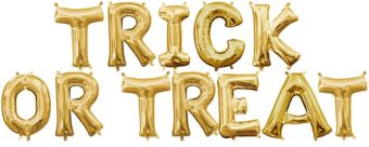 Air-Filled Gold Trick Or Treat Letter Balloon Kit