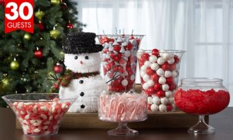 Red and White Christmas Candy Kit with Containers for 30 Guests