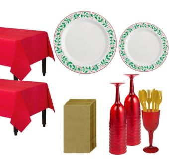 Christmas Holly Premium Tableware Kit for 20 Guests