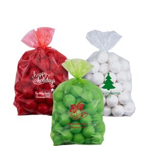 Personalized Small Christmas Plastic Treat Bags