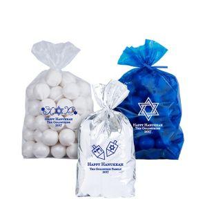 Personalized Small Hanukkah Plastic Treat Bags