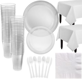 CLEAR Plastic Tableware Kit for 50 Guests