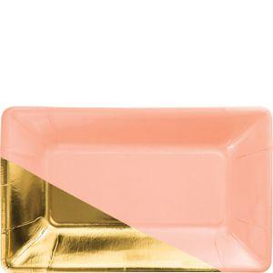 Metallic Gold & Peach Rectangle Dessert Plates 8ct