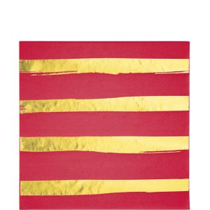 Metallic Gold Striped Red Lunch Napkins 16ct