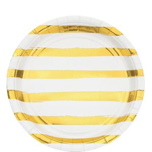 Metallic Gold Striped White Lunch Plates 8ct
