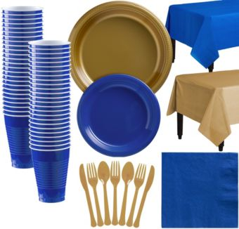 Gold & Royal Blue Plastic Tableware Kit for 50 Guests