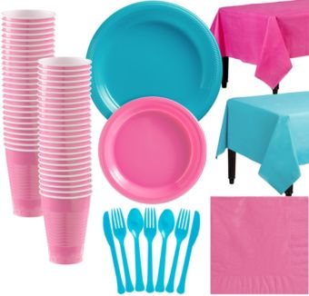 Bright Pink & Caribbean Blue Plastic Tableware Kit for 50 Guests