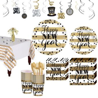 Golden Pattern New Year's Tableware Kit for 8 Guests