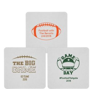 Personalized Football 80pt Square Coasters