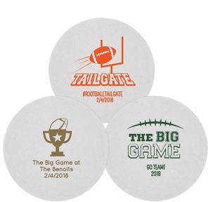 Personalized Football 80pt Round Coasters