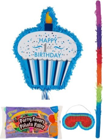 Blue Cupcake 1st Birthday Pinata Kit with Candy & Favors