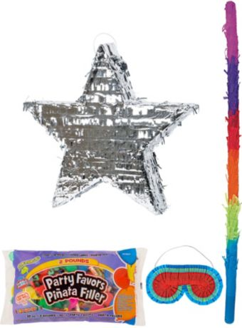 Foil Silver Star Pinata Kit with Candy & Favors