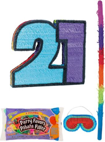 Number 21 Pinata Kit with Candy & Favors
