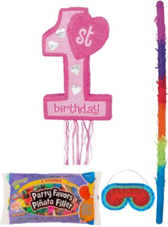 Pink 1st Birthday Pinata Kit with Candy & Favors