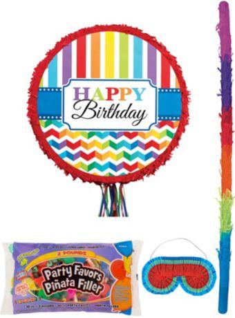 Rainbow Chevron Pinata Kit with Candy & Favors