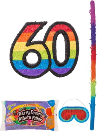 Rainbow Number 60 Pinata Kit with Candy & Favors