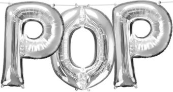 Air-Filled Silver Pop Letter Balloon Kit