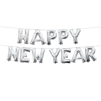 Air-Filled Silver Happy New Year Letter Balloon Kit