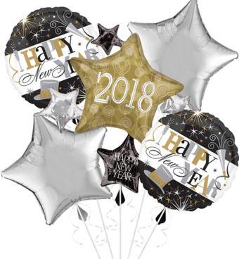Giant Black, Gold & Silver 2018 Star Balloon Cluster Kit