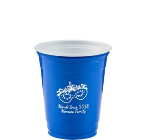 Personalized Mardi Gras Solid-Color Plastic Party Cups 12oz