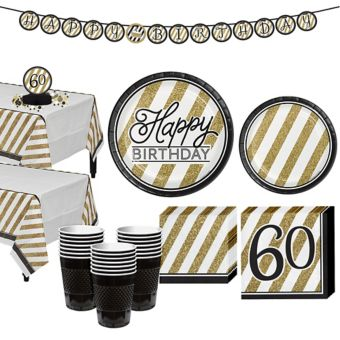 White & Gold Striped 60th Birthday Party Kit for 32 Guests