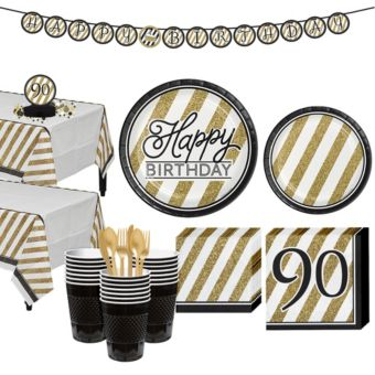 White & Gold Striped 90th Birthday Party Kit for 32 Guests