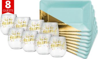 Metallic Gold & Mint Green Cocktail Party Kit for 8 Guests