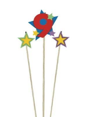 Number 9 Star Birthday Toothpick Candle Set 3pc
