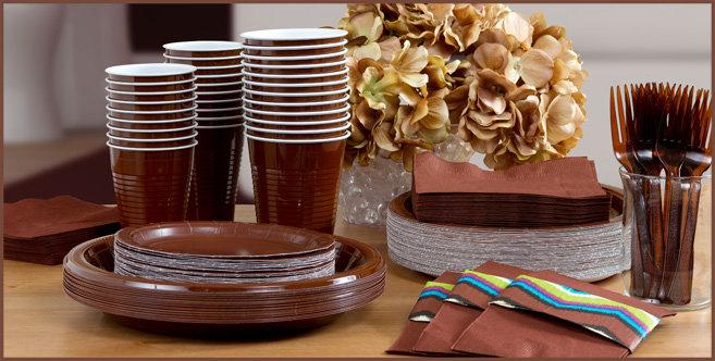 chocolate brown tableware