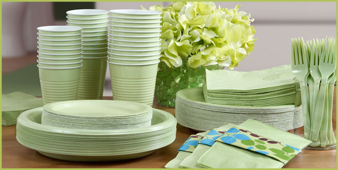 Solid Leaf Green Tableware #3