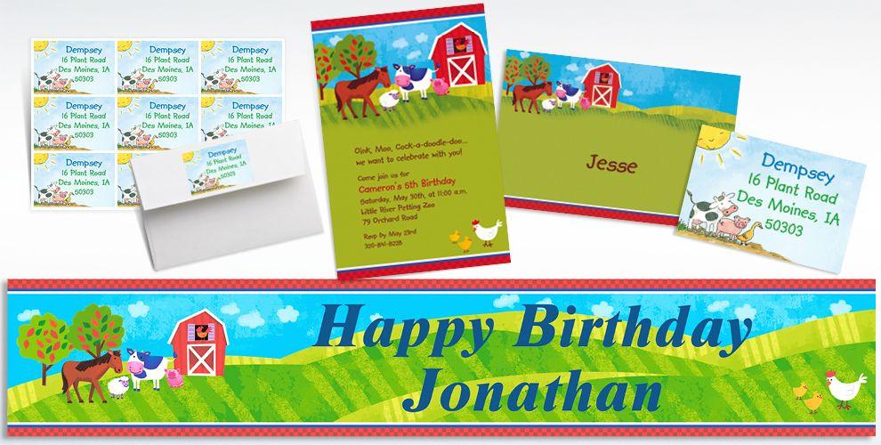 Custom Barnyard Invitations Thank You Notes Party City – Barnyard Birthday Invitations