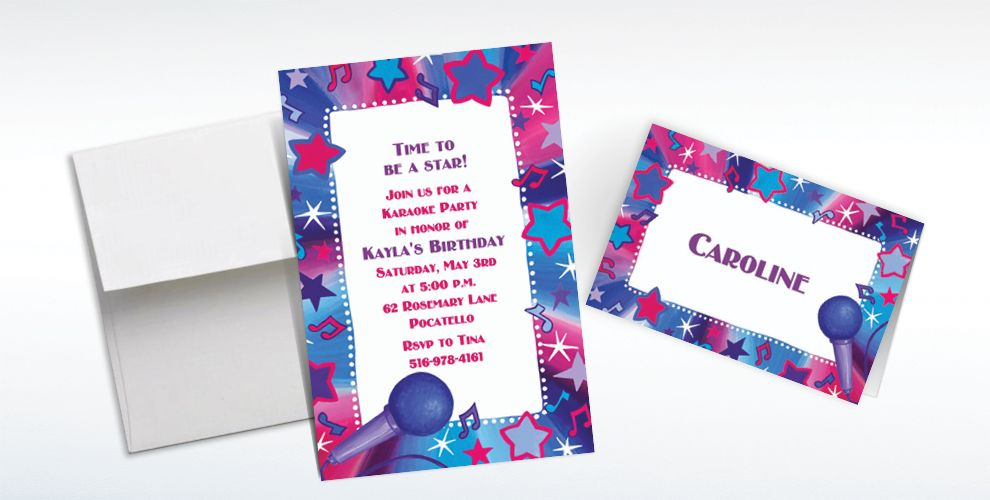 Custom Rock Star Karaoke Invitations & Thank You Notes - Party City