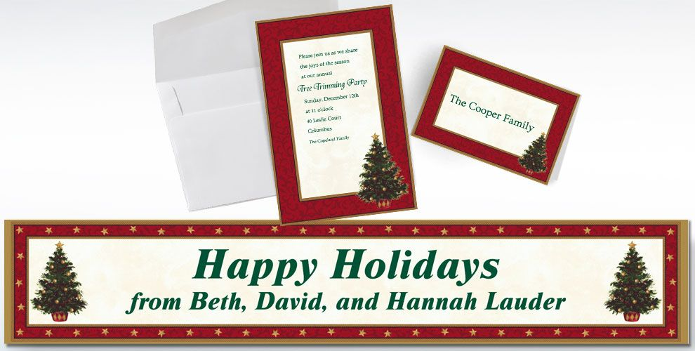 Custom All Wrapped Up Christmas Invitations and Thank You Notes