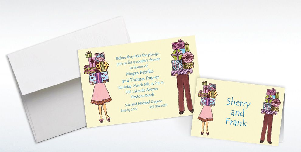 Custom Couple's Bridal Shower Invitations and Thank You Notes