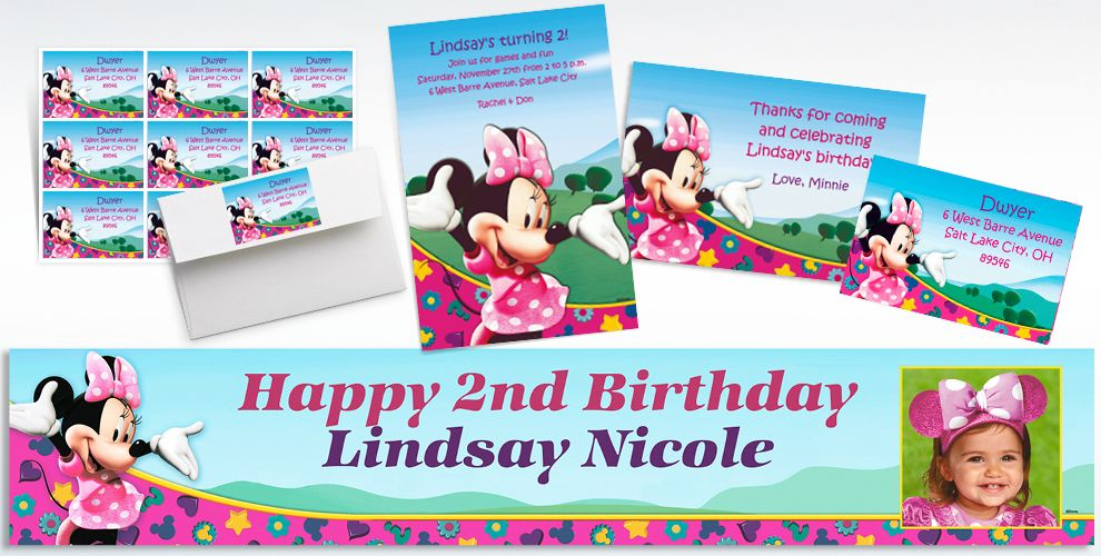 Custom Minnie Mouse Invitations Thank You Notes Party City – Minnie Mouse Personalized Birthday Invitations