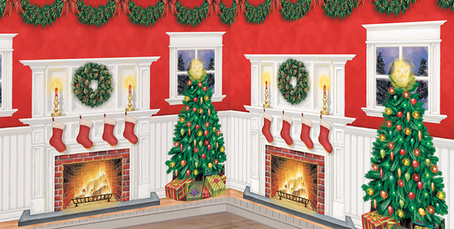 christmas scene setters christmas themed vinyl wall. Black Bedroom Furniture Sets. Home Design Ideas
