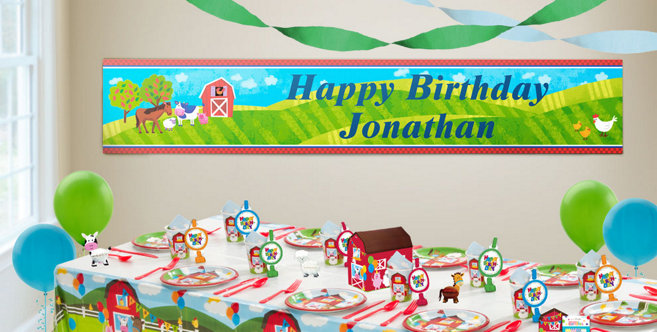 Custom Barnyard Birthday Banners Party City