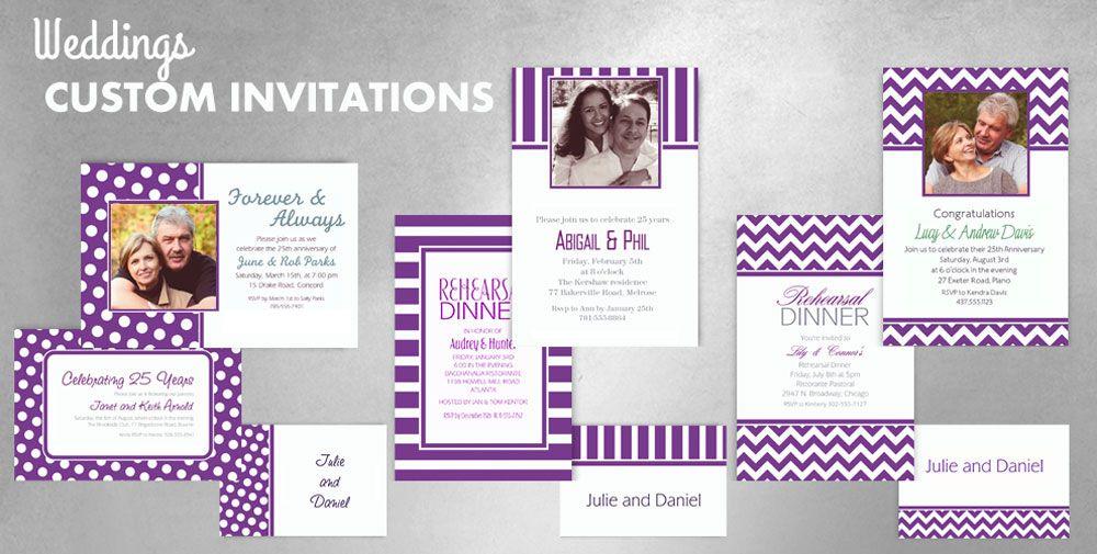 custom purple wedding invitations thank you notes With party city purple wedding invitations