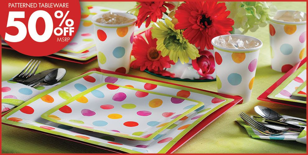Watercolor Dots Square Party Supplies