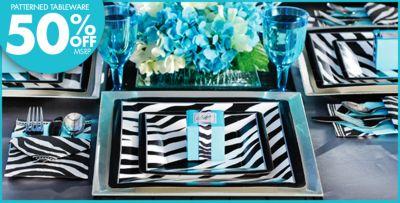 Blue Zebra Birthday Decorations Image Inspiration of Cake and