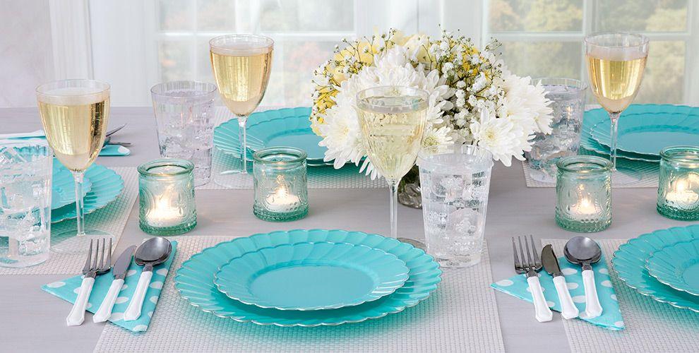 Robin's Egg Blue Premium Scalloped Tableware