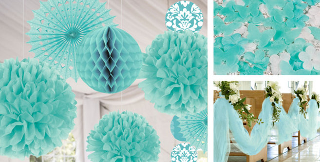 robins egg blue wedding decorations supplies party city - Party City Decorations